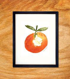 Clementine watercolor painting, Kitchen Art, Fruit Art, Home decor, Food artwork, Kitchen wall art, Orange, 8x10