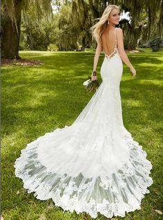 D281 Spaghetti Sraps Summer Beach Wedding Dresses, Hign Quality Lace Wedding Dresses