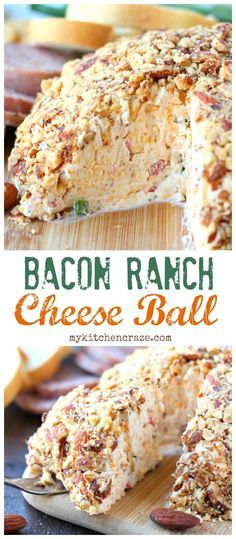 Need a quick appetizer for that upcoming party or just because? Then you need to make this Easy Cheese Ball with bacon, ranch, and almonds. Perfect with crackers and meats. This appetizer will be a hi (Cheese Ball) Quick Appetizers, Finger Food Appetizers, Appetizer Dips, Appetizers For Party, Finger Foods, Appetizer Recipes, Fruit Appetizers, Chicken Appetizers, Cheese Appetizers