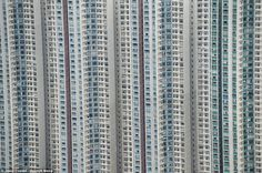 Hong Kong : high-rise apartment blocks lie side-by-side in the densely populated city