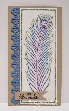 handmade card from  Glitter, Stamps, and Ink (Oh My...): Glittery Peacock Feather ... great colors ... tall and thin format (#10) ...