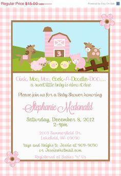 SALE Barnyard Farm Baby Shower Invitation by Asapinvites on Etsy, $13.00