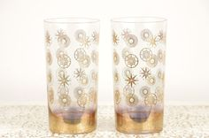 Vintage Tumblers with Gold and Mint Green by DuryeaPlaceDesigns, $40.00