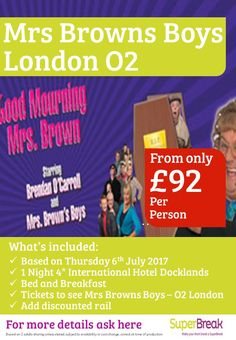 #lovemrsbrown this is my FAV show sooo tempting!! and its with hotel! this one will sell out so call us and don't miss out 0800 975 7584