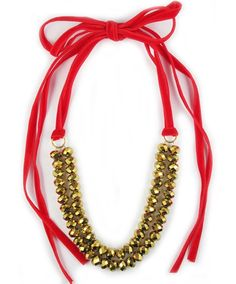 Gold Sparkle and Red Velvet Ribbon Necklace $60.00