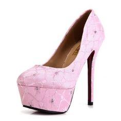 Kvoll Womens Closed Toe Stiletto Platform Laces Satin Pumps: from $32.99