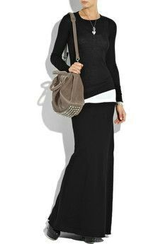 I have a long skirt like this that I haven't worn in a long time; I may attempt … I have a long skirt like this that I haven't worn in a long time; I may attempt to rock this look! Long Black Skirt Outfit, Maxi Skirt Outfits, Maxi Skirts, Jean Skirts, Denim Skirts, Dress Skirt, Looks Style, My Style, New Shape
