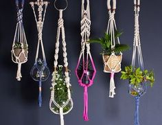 Twist again: Macrame plant holders by UK Interiors brand A Rum Fellow have a contemporary ...