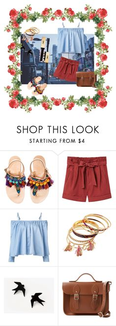 """""""Pompoms shoes outfit """" by pauline-orangina ❤ liked on Polyvore featuring Elina Linardaki, MANGO, Sandy Liang and The Cambridge Satchel Company"""
