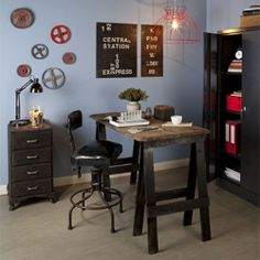 Check out the great DIY projects used to create this Industrial Chic style room.
