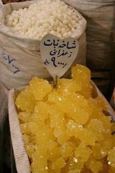 Saffron Coated Rock Candy! Saffron marries beautifully with other flavorings used in sweets, such as cardamom, rosewater, fresh lime juice, almonds, ginger and cinnamon.