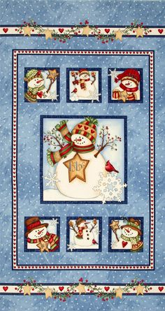 Just Believe Snowman Panel Blue