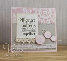 Card by Anya Schrier using Button Best from Verve.  #vervestamps