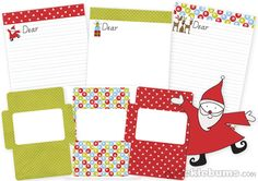 Dear Santa Letters...This set comes with three different writing papers. Each writing paper design comes in a lined and un-lined version and each has a matching evelope template, just cut, fold and glue shut.