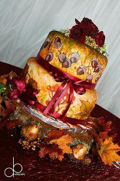 Hand-painted fondant wedding cake for Barn Wedding in Virginia