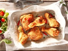 For Banting fans. We created this delicious take on ever-popular fried chicken that uses coconut in the coating instead of breadcrumbs. So it fits in perfectly with a no-carb, high-protein eating plan. Braai Recipes, Cooking Recipes, Easy Recipes, South African Recipes, Ethnic Recipes, Coconut Chicken, Your Recipe, Main Meals, Tasty Dishes