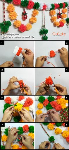 Find step by step insturctions on How to make easy Woolen pom pom Toran or door hanging for festive or wedding decoration. Door Hanging Decorations, Diwali Decorations At Home, Home Wedding Decorations, Festival Decorations, Diwali Diy, Diwali Craft, 5 Min Crafts, Diy Crafts, Housewarming Decorations