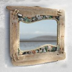 5 Coastal Mirrors to get your Creative Juices Flowing - Beach Bliss Living - driftwood, rope , shells mirror. Beach decor You are in the right place about diy home decor Here w - Sea Glass Crafts, Sea Glass Art, Shell Crafts, Glass Beach, Stained Glass, Glass Vase, Coastal Mirrors, Coastal Decor, Driftwood Mirror