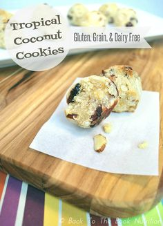 Tropical Coconut Cookies- A perfectly textured, light & bright coconut cookie that'll whisk you away to a tropical paradise. {Gluten, Grain, & Dairy Free, Honey sweetened, Ready in 20 min!} | www.backtothebooknutrition.com/blog