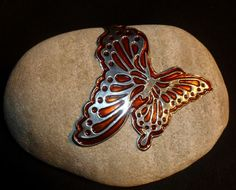 Glass Painted Butterfly on Rock. Made by Caroline @ Pewter Concepts