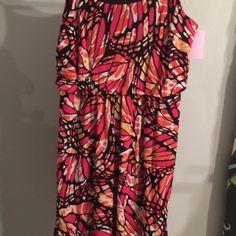 Pink print dress Pink print  sleeveless dress with gathered waist Dresses