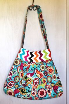 "Paisley Chevron ""Maye"" Pleated Shoulder Bag - Ready to Ship on Etsy, $45.00"