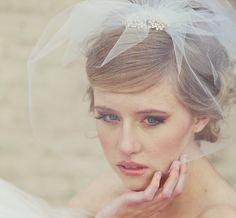 wedding birdcage veil with rhinestone comb by BeSomethingNew, $85.00