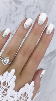 GORGEOUS WEDDING NAIL DESIGNS FOR BRIDES 2019 - Page 20 of 44 nails;wedding nails for bride;wedding nails for bride; Winter Wedding Nails, Wedding Nails For Bride, Wedding Nails Design, Bride Nails, Winter Nails, Wedding Nails Art, Sparkle Wedding, Nail Designs For Weddings, Nails For Brides