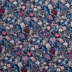 Jay Blue/Navy Floral Printed Cotton Poplin