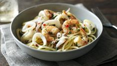 BBC - Food - Recipes : Squid and prawns with chilli and marjoram by Nigella Lawson Squid Recipes, Seafood Recipes, Pasta Recipes, Yummy Recipes, Recipies, Healthy Recipes, Marjoram Recipe, Nigella Lawson, Just Cooking
