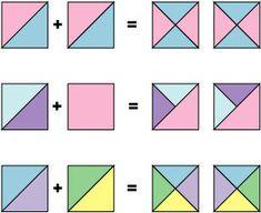 Quick Pieced Quarter Square Triangle Units: Quarter Square Triangle Unit Variations
