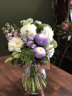 Fluffy Lilac and White Arrangement with Dahlias, Asters, Stock and Lemon Myrtle Floral Wedding, Wedding Flowers, Dish Garden, Order Flowers Online, Sympathy Flowers, Vase Arrangements, Floral Foam, Gerbera, Dahlias