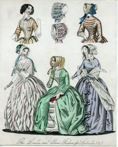 LONDON AND PARIS FASHIONS SEPTEMBER 1848 Original hand-colored engravings   from an unidentified 19th century women's fashion magazine, most likely The new monthly Belle Assemblée; a Magazine of Literature and Fashion...