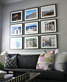 Making a gallery wall to fill a big space. I always tend to try and find big pieces to fill the space on their own, but this is more practical and cool!
