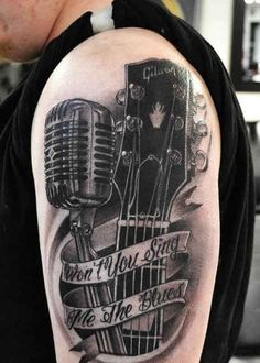 Tattoo guitar at the Micro and font