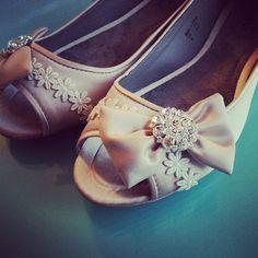 Chic Bows Bridal Open toe Ballet Flats Wedding by BeholdenBridal, $75.00