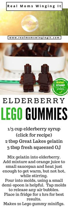 I have had several friends ask me WHY I haven't posted the recipe for the Elderberry Syrup Lego Gummies my kids have been eating all through the Fall and Winter Seasons! This is known as Nature's Tamiflu, believed to boost immunity and zap those sickies! Elderberries are a superfood and we love adding it to so many other recipes, like the Banana Elderberry Muffins you can find on the blog!