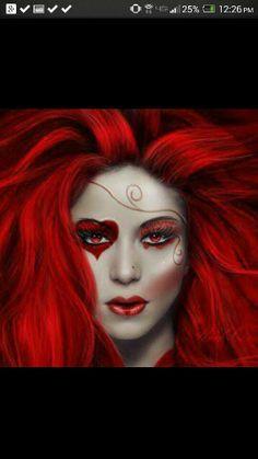 # Queen Of Hearts Makeup, Queen Of Hearts Costume, Red Queen Costume, Red Queen Makeup, Halloween Fun, Halloween Costumes, Halloween Face Makeup, Fantasy Make Up, Fantasy Art