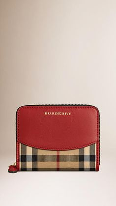 Burberry Parade Red Horseferry Check and Leather Small Ziparound Wallet - A small, ziparound wallet in jacquard-woven Horseferry check with a leather panel and trim. Discover more accessories at Burberry.com