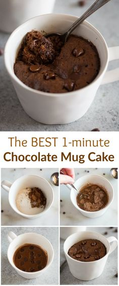 Microwave Chocolate Mug Cake is the easiest and fastest way to make dessert for one or two. This mug cake recipe is made with chocolate chips and no eggs. via Cake Chocolate Mug Cake Microwave Chocolate Mug Cake, Chocolate Chip Mug Cake, Mug Cake Microwave, Chocolate Mug Cakes, Microwave Recipes, Chocolate Recipes, Baking Recipes, Chocolate Chips, Cake Recipes