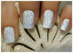 OPI Twinkling Diamonds Glitter Manicure ~ OPI Ski Slope Sweetie ~ Designer Top Coat, Silver Fairy Dust ~ Easy to follow instructions
