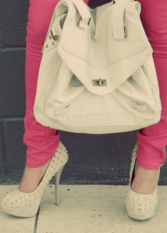 Love the pink skinnies and spiked nude pumps