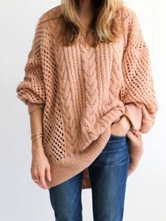 Ryan Roche Oversize Cashmere Fisherman's Sweater - Ballet Pink