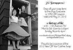 """Take Off Your Clothes _ Calgary : Drop off your swap Items at """" A Vintage Affair""""."""