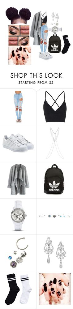 """Untitled #1734"" by mrkr-lawson ❤ liked on Polyvore featuring Topshop, adidas Originals, Chicwish, FOSSIL, Wrapped In Love and Pieces"