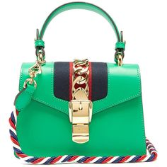 Gucci Green 'Sylvie' Mini Crossbody Bag ($2,250) ❤ liked on Polyvore featuring bags, handbags, shoulder bags, green, green handbags, green crossbody, green purse, mini cross body purse and gucci crossbody