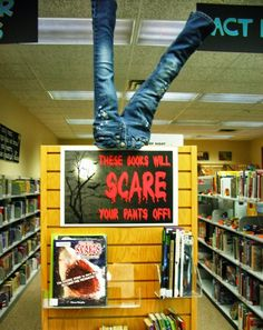 Great October book display for a library or even a smaller classroom reading corner. (a great way to display the 19 monster books for kids)