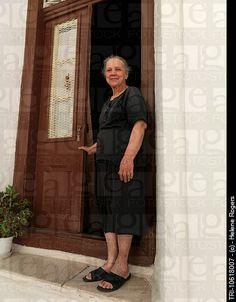 Vourliotes Samos Greece Elderly Woman Standing By Doors Of Her House Samos Greece, Stock Pictures, Stock Photos, Beautiful Old Woman, Woman Standing, Greek Islands, Older Women, Photo Library, Beauty Women