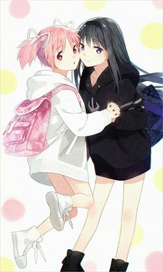 "cute-girls-from-vns-anime-manga: "" ●○●○ by hakusai "" Anime Best Friends, Friend Anime, Kawaii Anime Girl, Anime Art Girl, Manga Girl, Anime Girls, Yuri Manga, Yuri Anime, Anime Manga"