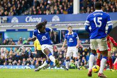 23 November 2013 Romelu Lukaku meets a cut back from Kevin Mirallas to score Everton's second in the Merseyside derby
